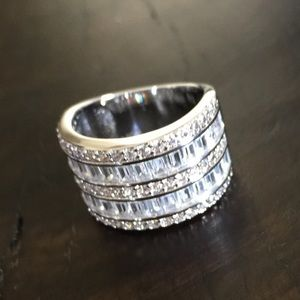 Jewelry - Sterling Silver White Sapphire Diamond Wide Ring